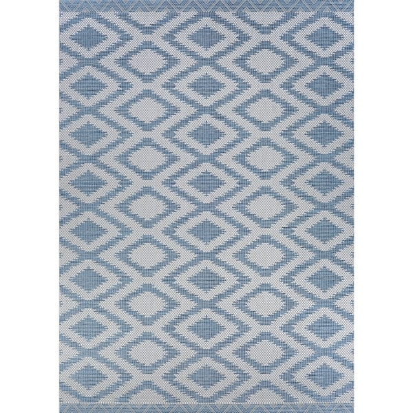 Shop Jagher Accra Blue Indoor Outdoor Area Rug 3 9 X 5 5 On