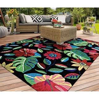 """Wiltshire Hibiscus Fern-Black Indoor/Outdoor Area Rug - 3'6"""" x 5'6"""""""