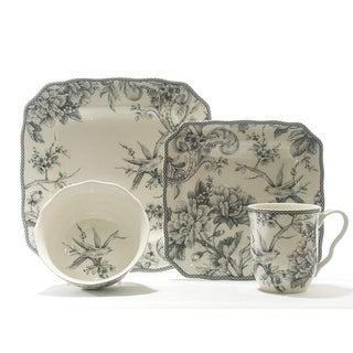 Link to 222 Fifth Adelaide Grey 16 Piece Dinnerware Set, Service for 4 Similar Items in Dinnerware
