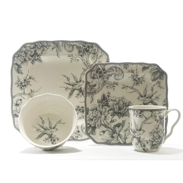 222 Fifth Adelaide Grey 16 Piece Dinnerware Set, Service for 4. Opens flyout.