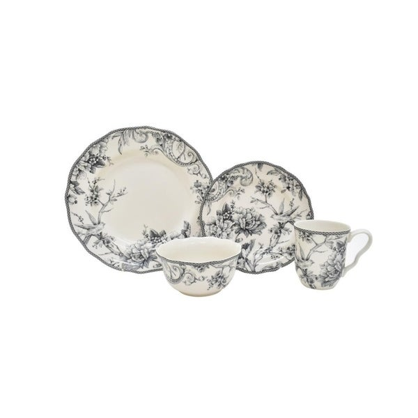 Shop 222 Fifth Adelaide Grey 16-Piece Dinnerware Set - Free Shipping ...
