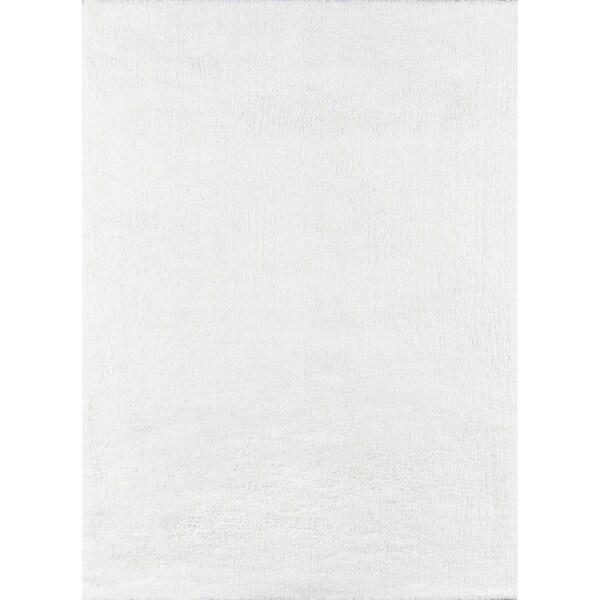 """Momeni Velvet Shag Polyester Machine Made White Area Rug - 7'6"""" x 9'6"""""""