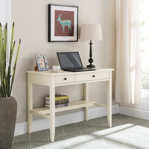 Sutton Writing Desk with Charging Station in Antique White. Opens flyout.