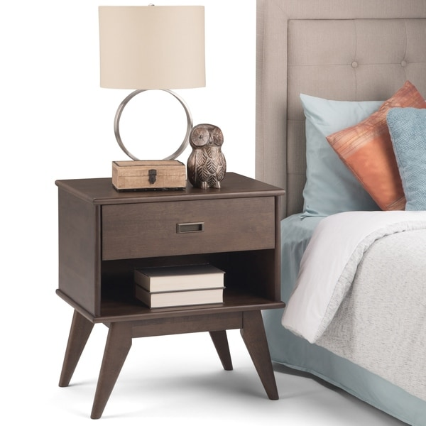 WYNDENHALL Tierney Solid Hardwood 24 inch Wide Mid Century Modern Bedside Nightstand Table