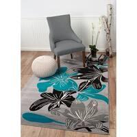 "Summit Grey, Teal Flower Design Area Rug - 7""4' x 10'6'"