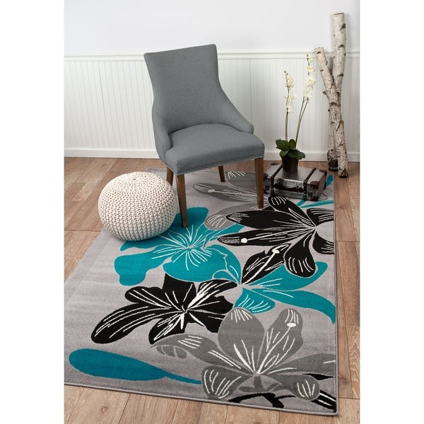"Summit Grey, Teal Flower Design Area Rug - 7""4' x 10'6'"