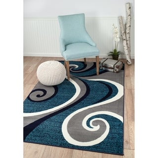 "Summit Navy Blue Swirl Area Rug - 3'8"" x 5'"