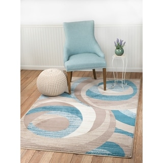 """Summit Blue, Taupe, Abstract Area Rug - 7""""4' x 10'6'"""