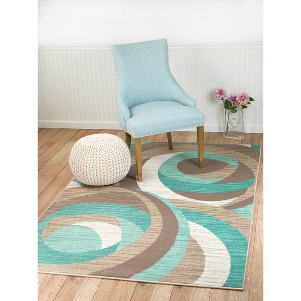 Shop Summit Teal, Taupe, Abstract Area Rug