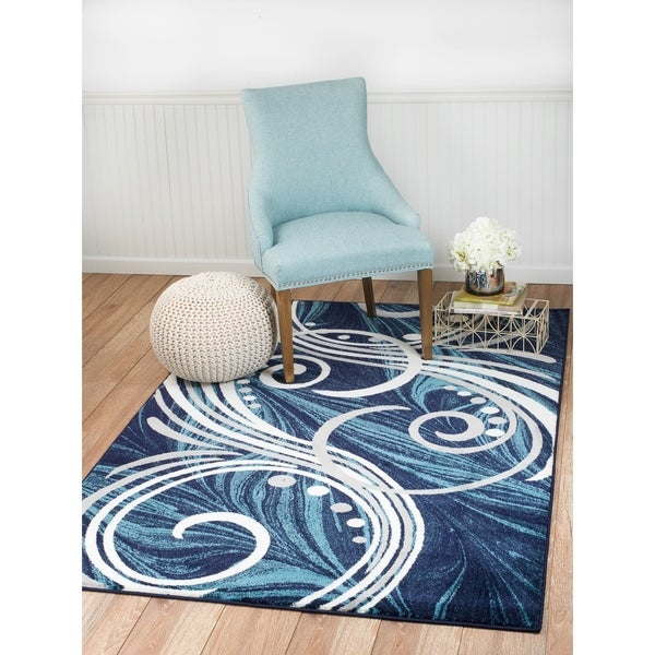 "Summit Navy Blue Swril Area Rug - 3'8"" x 5'"
