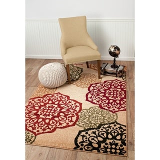 "Summit Beige Ball Design Area Rug - 3'8"" x 5'"