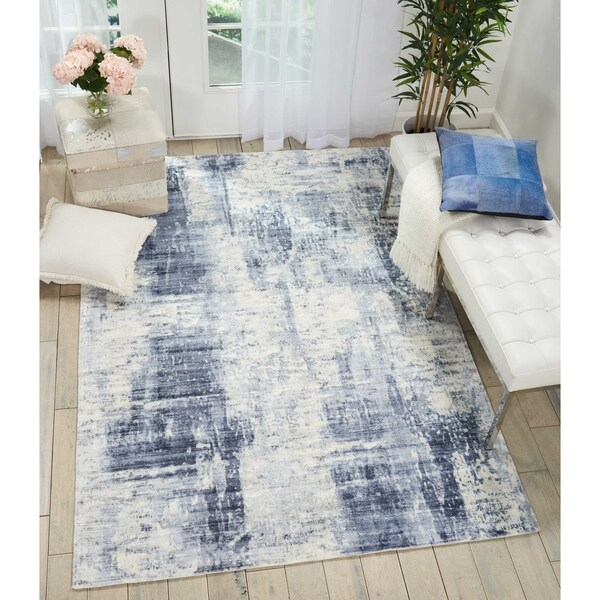 "Kathy Ireland Vintage Abstract Blue Area Rug by Nourison - 5'3"" x 7'5"""