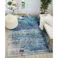 "Kathy Ireland Vintage Abstract Teal Blue Area Rug by Nourison - 5'3"" x 7'5"""