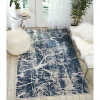 Nourison Kathy Ireland Heritage Beige/Blue Abstract Rug - 5'2 x 7'3