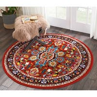 """Nourison Oakdale Traditional Red Round Rug - 5'3"""" x 5'3"""""""