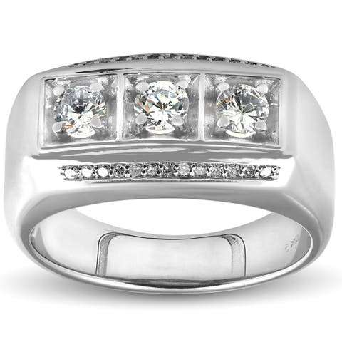 Pompeii3 10k White Gold 1ct TDW Diamond Mens Three Stone Wedding Anniversary Ring