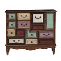 Warm Brown/Multicolored Eclectic 6-door and 2-drawer Accent Chest