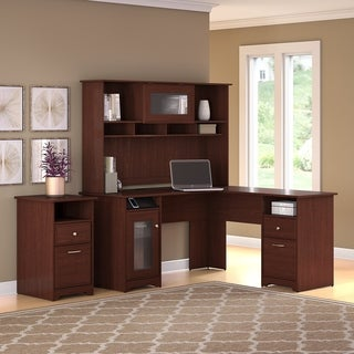 Copper Grove Burgas L-shaped Desk with Hutch and 2-drawer File Cabinet in Cherry