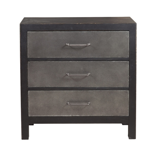 Industrial Style Three Drawer Accent Chest in Distressed Black