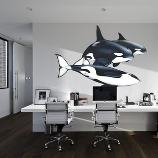 "Killer Whale Sea Animals Full Color Wall Decal Sticker K-1260 FRST Size 46""x56"""