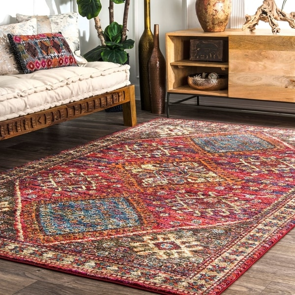 nuLOOM Transitional Tribal Stylish Faded Border Area Rug. Opens flyout.