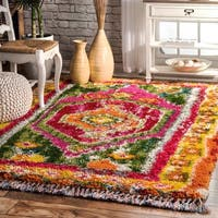 nuLOOM Multi Soft and Plush Wonderland Tribal Motifs Border Tassels Shag Rug