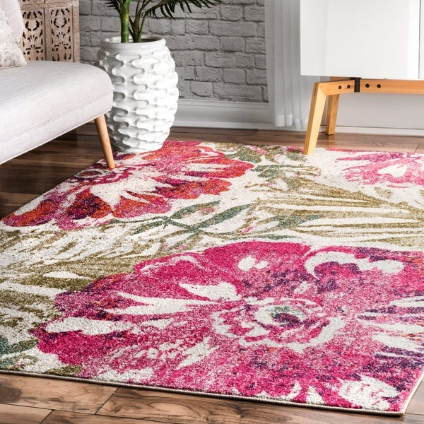 Shop nuLoom Pink Modern Summer Bloom Country Antique Ombre Area Rug ...