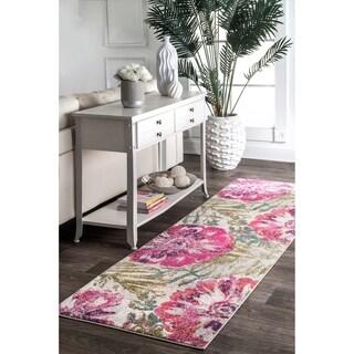 """nuLOOM Pink Modern Summer Bloom Country Antique Ombre Area Rug - 2' 8"""" x 8' runner"""