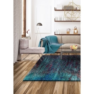 "Dulcet Eve Teal-Smoke Area Rug - 9'10"" x 12'10"""