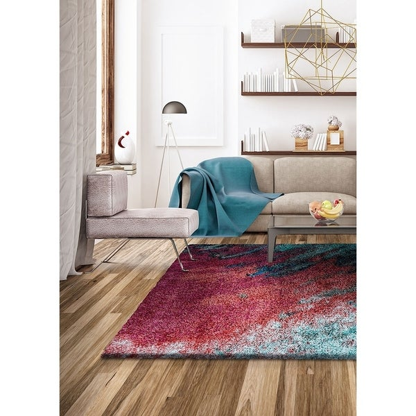 "Dulcet Dusk Teal-Turquoise Area Rug - 6'6"" x 9'6"""