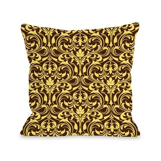 Athena Florals - Expresso Yellow  Pillow by OBC