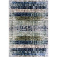 Chapman Faded Stripes Blue-Green Area Rug - 6'6 x 9'6