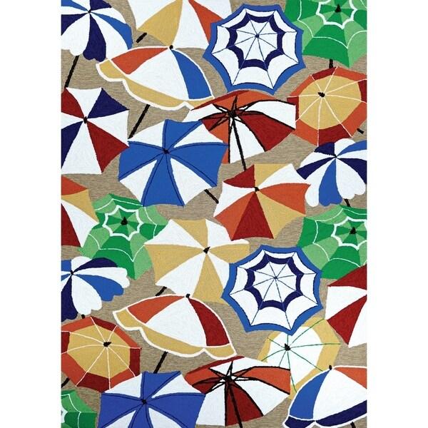"""Outdoor Bliss Umbrellas Tan-Red-Blue Indoor/Outdoor Area Rug - 5'6"""" x 8'"""