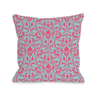 Athena Florals - Light Blue Chartreuse  Pillow by OBC