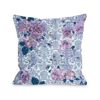 Aria Demask Florals - Blue  Pillow by OBC