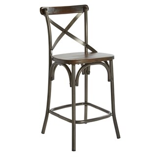 OSP Designs Indio 26 inch Counter Stool with Walnut Seat and Matte Gunmetal Base