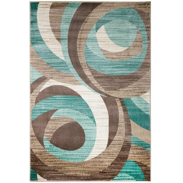 Shop Summit Teal Taupe Abstract Area Rug 22 Quot X 7 On