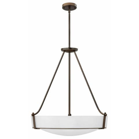 Hinkley Hathaway 5-Light Pendant in Olde Bronze with Etched White