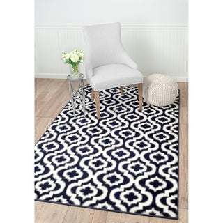 "Summit Navy Blue, White, Morrocan Trellis Area Rug (8' x 11') - 7""4' x 10'6'"