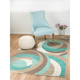 "Summit Teal, Taupe, Abstract Area Rug (8' x 11') - 7""4' x 10'6'"
