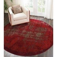 "Nourison Karma Vintage Distressed Red Round Rug - 7'10"" x 7'10"""