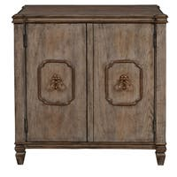 Traditional Weathered and Hand Distressed Pecan Finish Two Door Accent Storage Chest