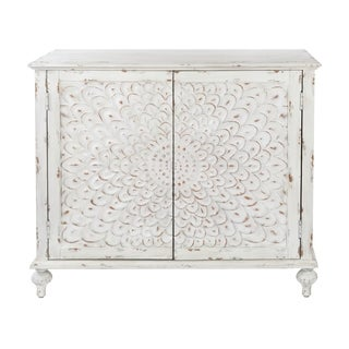 Hand-distressed White Wood Carved Front 2-door Chest