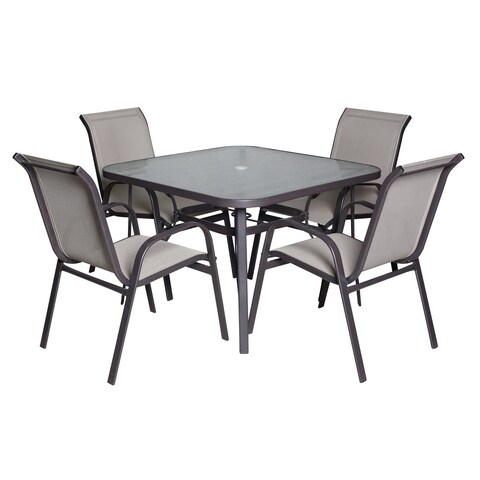 Madeline 5-PC Glass-Top Dining Set