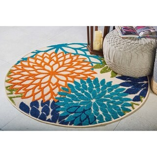 Nourison Aloha Multicolor Indoor/Outdoor Round Rug - 4' x 4'