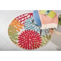 Nourison Aloha Floral Green Indoor/Outdoor Round Rug - 4' x 4'