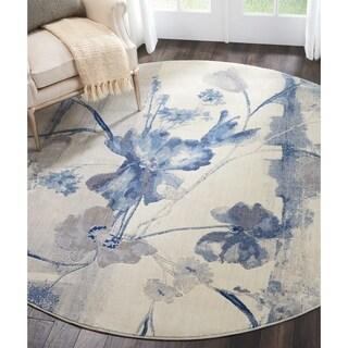 "Nourison Somerset Ivory/Blue Floral Round Rug - 7'9"" x 7'9"""
