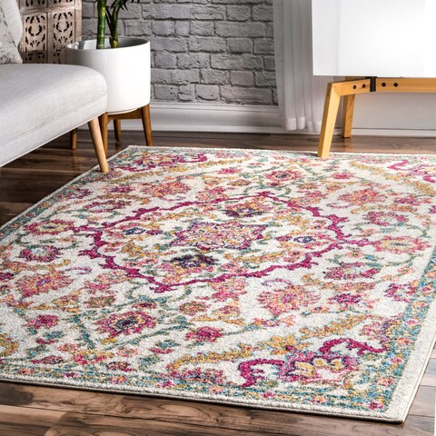 nuLOOM Multi Contemporary Modern Blooming Medallion Faded Area Rug