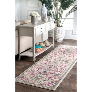 """nuLOOM Multi Contemporary Modern Blooming Medallion Faded Area Rug - 2' 8"""" x 8' runner"""