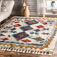 nuLOOM Multi Soft and Plush Stylish Boho Chic Tassel Shag Rug